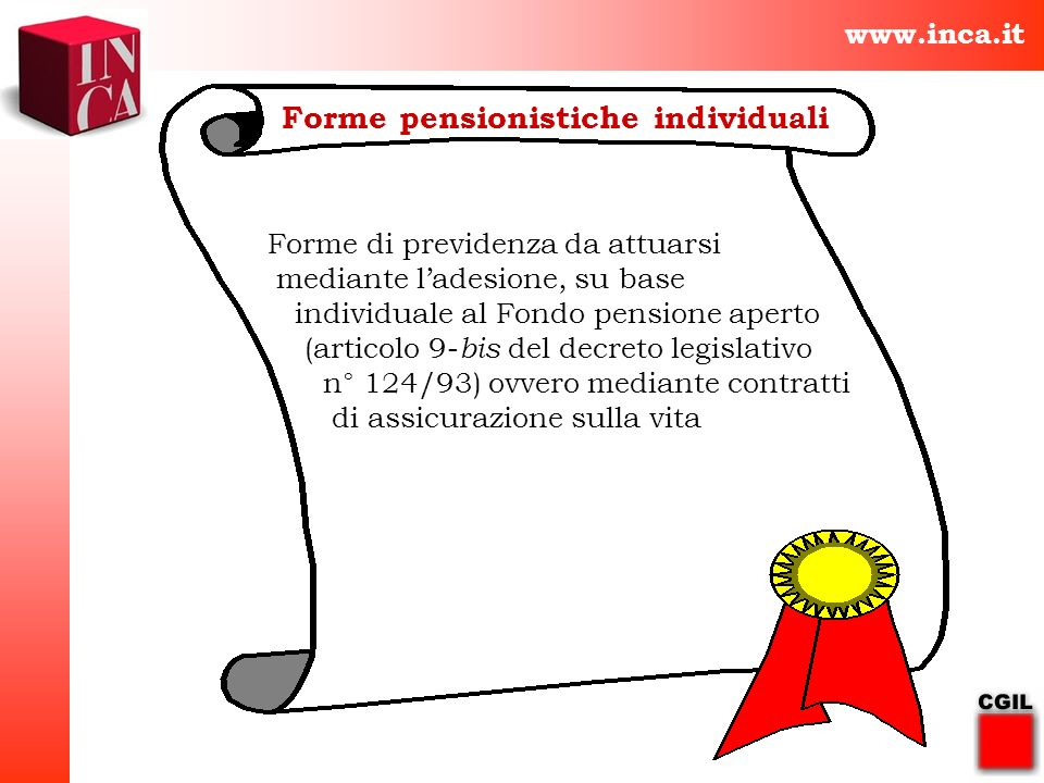 www.inca.it Forme pensionistiche individuali Forme di previdenza da attuarsi mediante ladesione, su base individuale al Fondo pensione aperto (articol