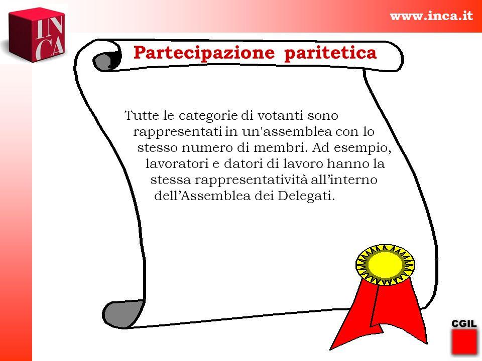 www.inca.it Partecipazione paritetica Tutte le categorie di votanti sono rappresentati in un'assemblea con lo stesso numero di membri. Ad esempio, lav