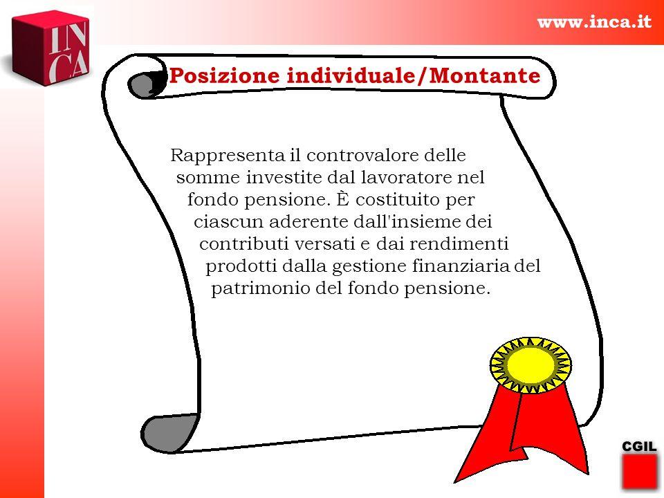 www.inca.it Posizione individuale/Montante Rappresenta il controvalore delle somme investite dal lavoratore nel fondo pensione. È costituito per ciasc