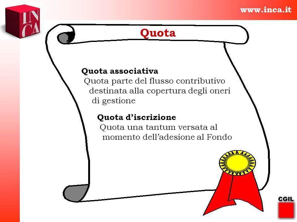 www.inca.it Quota Quota associativa Quota parte del flusso contributivo destinata alla copertura degli oneri di gestione Quota discrizione Quota una t