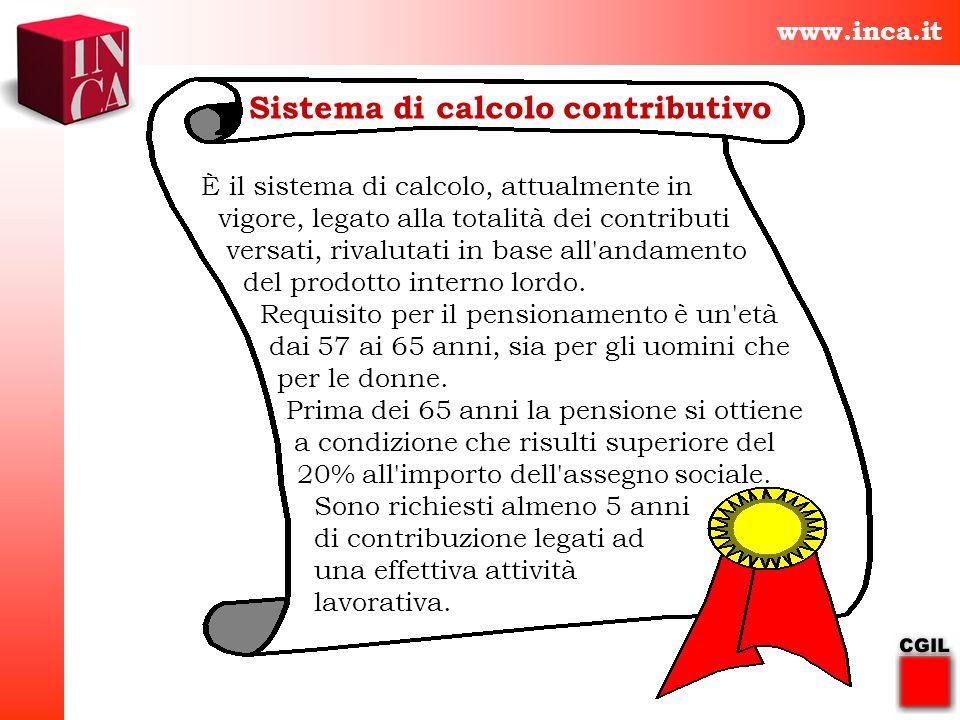 www.inca.it Sistema di calcolo contributivo È il sistema di calcolo, attualmente in vigore, legato alla totalità dei contributi versati, rivalutati in