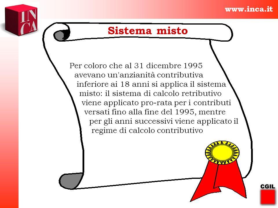 www.inca.it Sistema misto Per coloro che al 31 dicembre 1995 avevano un'anzianità contributiva inferiore ai 18 anni si applica il sistema misto: il si