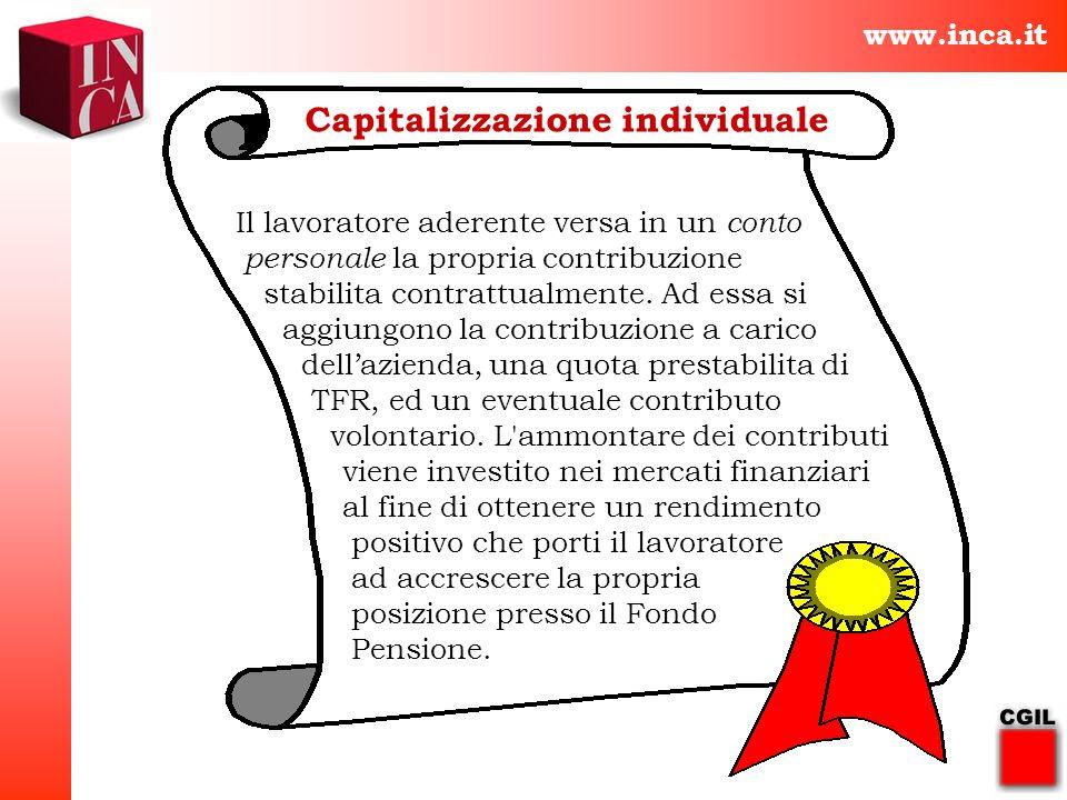 www.inca.it Capitalizzazione individuale Il lavoratore aderente versa in un conto personale la propria contribuzione stabilita contrattualmente. Ad es