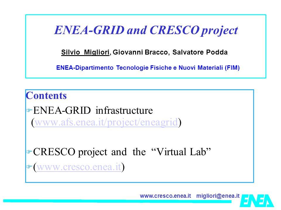 migliori@enea.itwww.cresco.enea.it Contents ENEA-GRID infrastructure (www.afs.enea.it/project/eneagrid)www.afs.enea.it/project/eneagrid CRESCO project