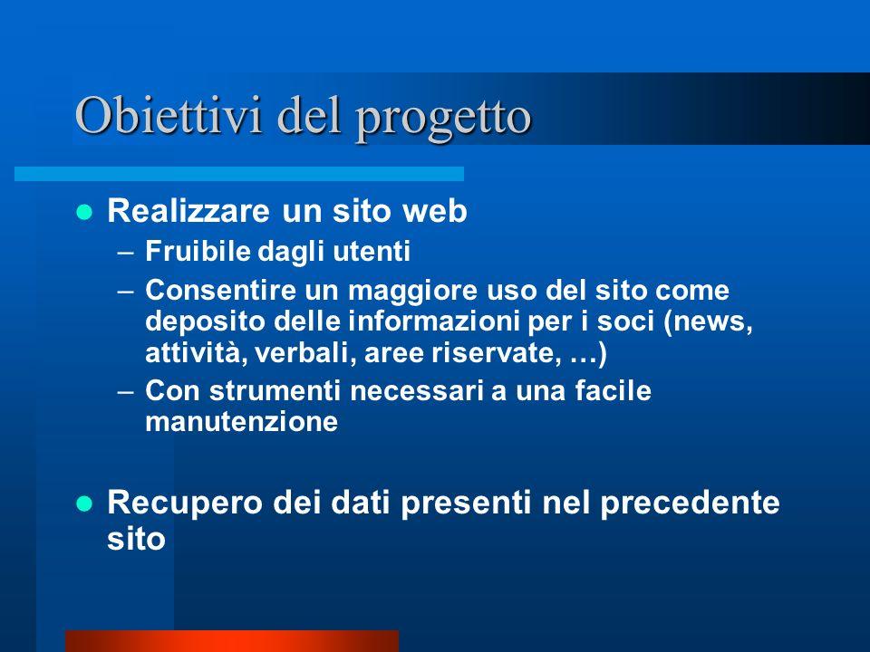 Obiettivi del progetto Realizzare un sito web –Fruibile dagli utenti –Consentire un maggiore uso del sito come deposito delle informazioni per i soci