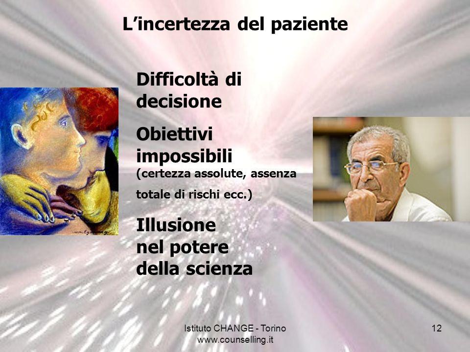 Istituto CHANGE - Torino www.counselling.it 12 Lincertezza del paziente Difficoltà di decisione Obiettivi impossibili (certezza assolute, assenza tota