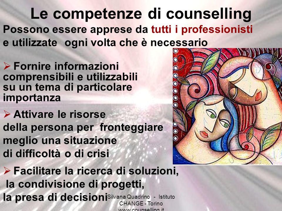Silvana Quadrino - Istituto CHANGE - Torino www.counselling.it Le competenze di counselling Possono essere apprese da tutti i professionisti e utilizz