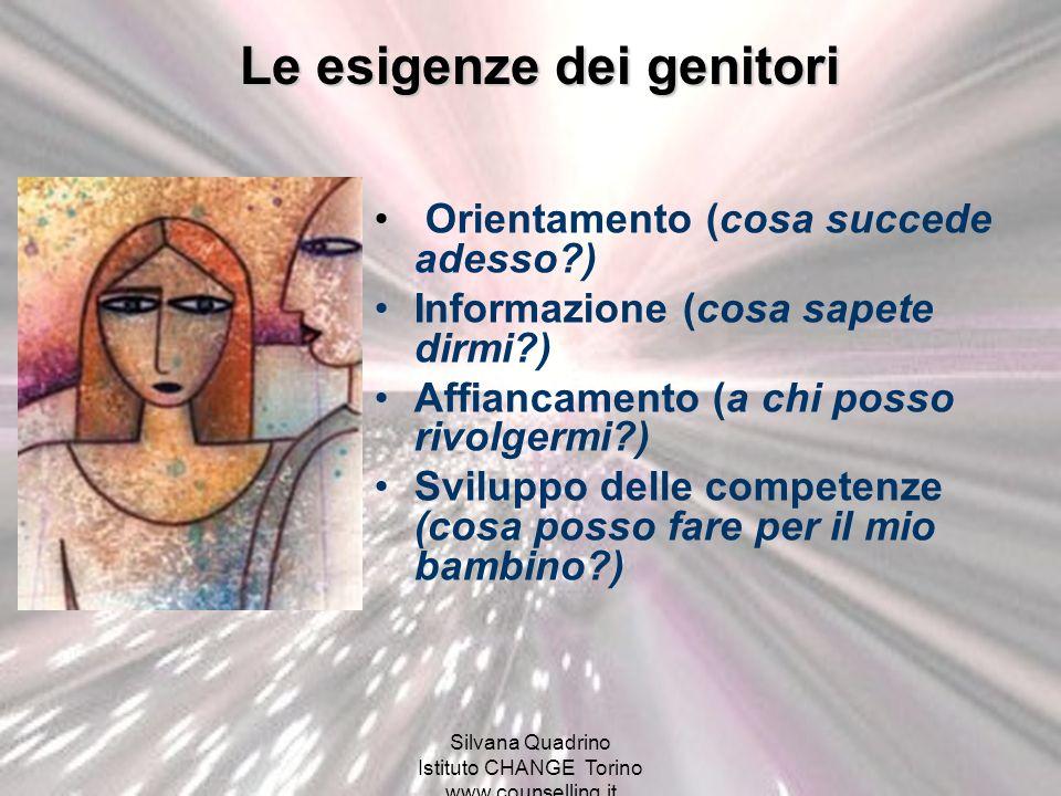 Silvana Quadrino Istituto CHANGE Torino www.counselling.it Orientamento (cosa succede adesso?) Informazione (cosa sapete dirmi?) Affiancamento (a chi