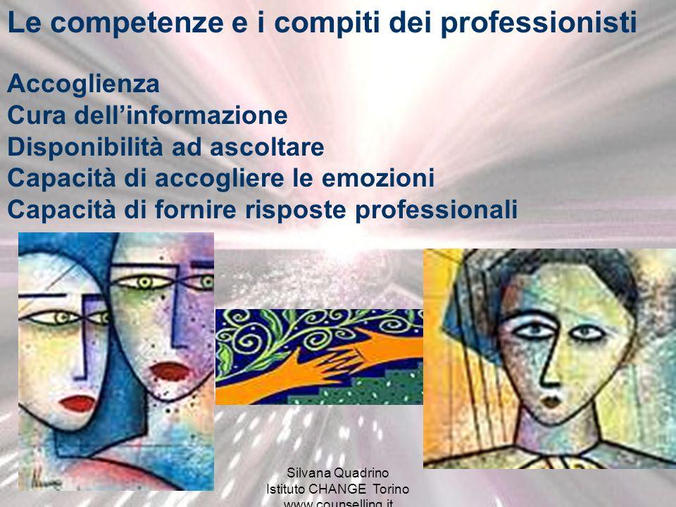 Silvana Quadrino - Istituto CHANGE - Torino www.counselling.it Compiti e competenze indispensabili Capacità di informare per - Orientare - Migliorare la comprensione di ciò che sta accadendo - Coordinare e completare le informazioni - Comunicare lincertezza