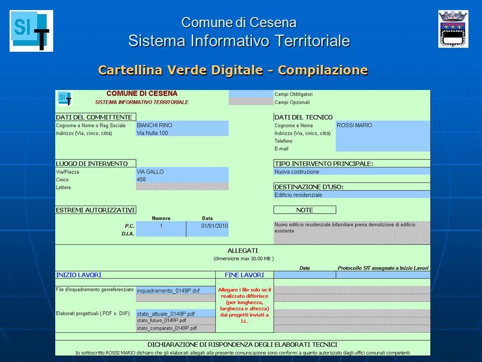 Comune di Cesena Sistema Informativo Territoriale Cartellina Verde Digitale - Compilazione