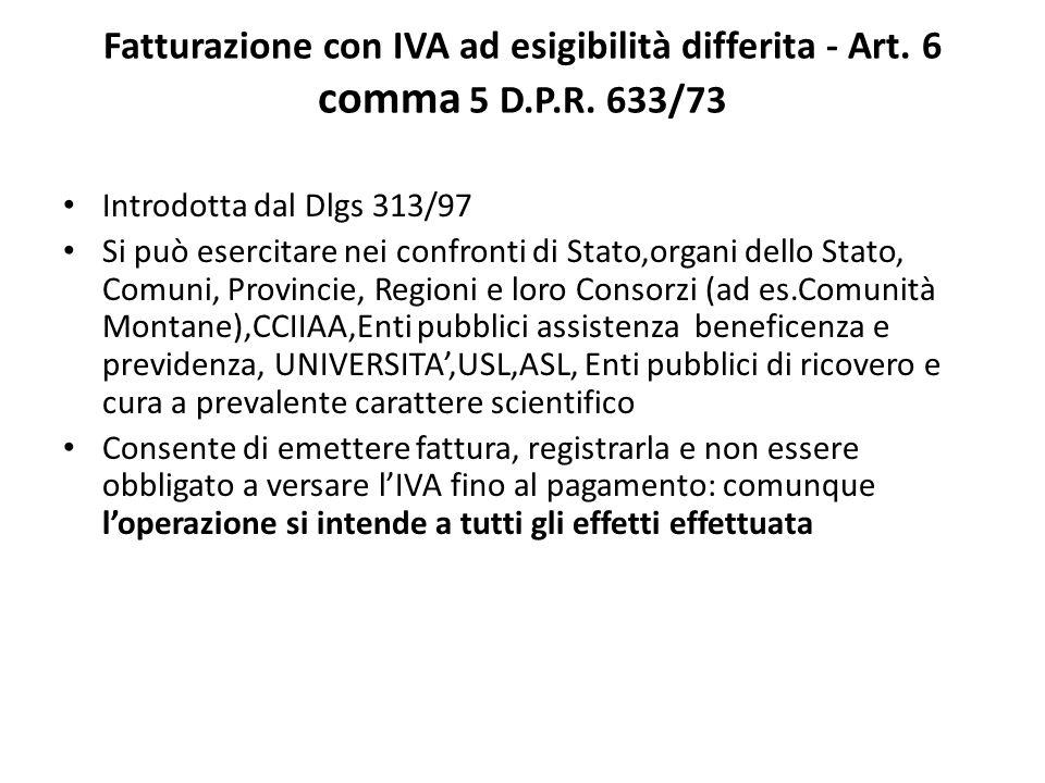 Fatturazione con IVA ad esigibilità differita - Art.