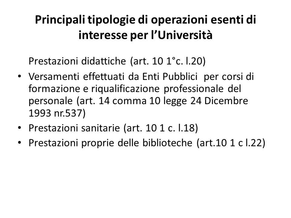 Principali tipologie di operazioni esenti di interesse per lUniversità Prestazioni didattiche (art.
