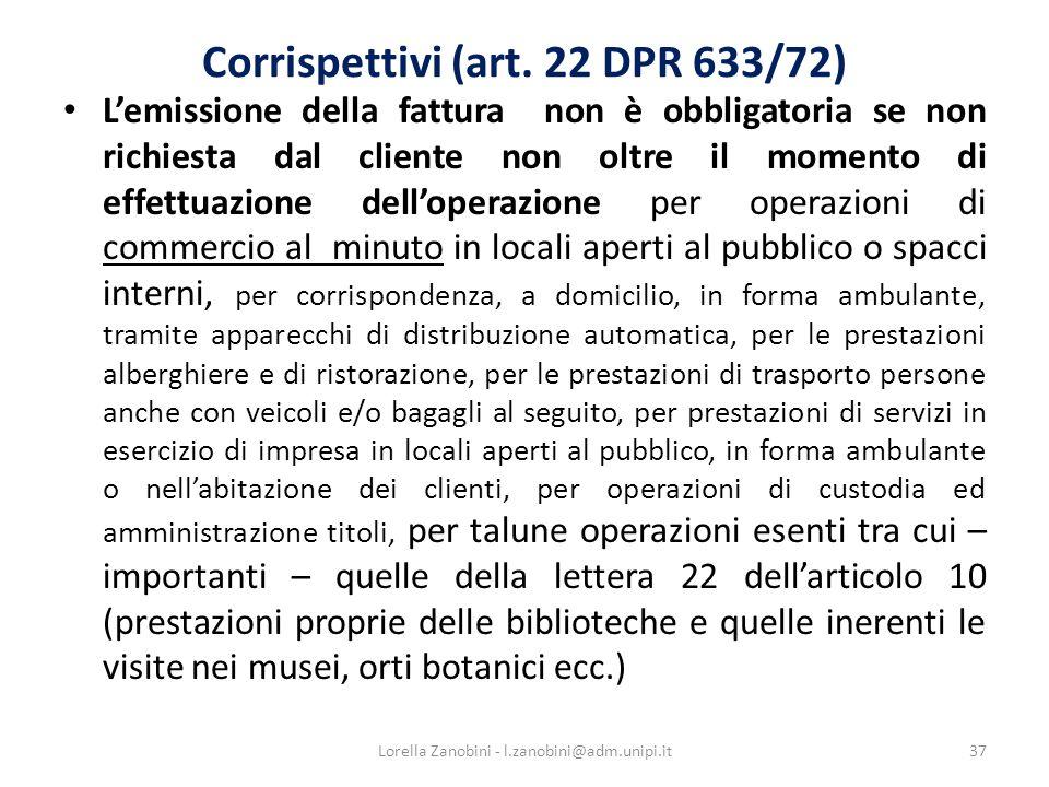Corrispettivi (art.