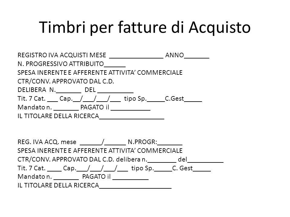 Timbri per fatture di Acquisto REGISTRO IVA ACQUISTI MESE _______________ ANNO_______ N.