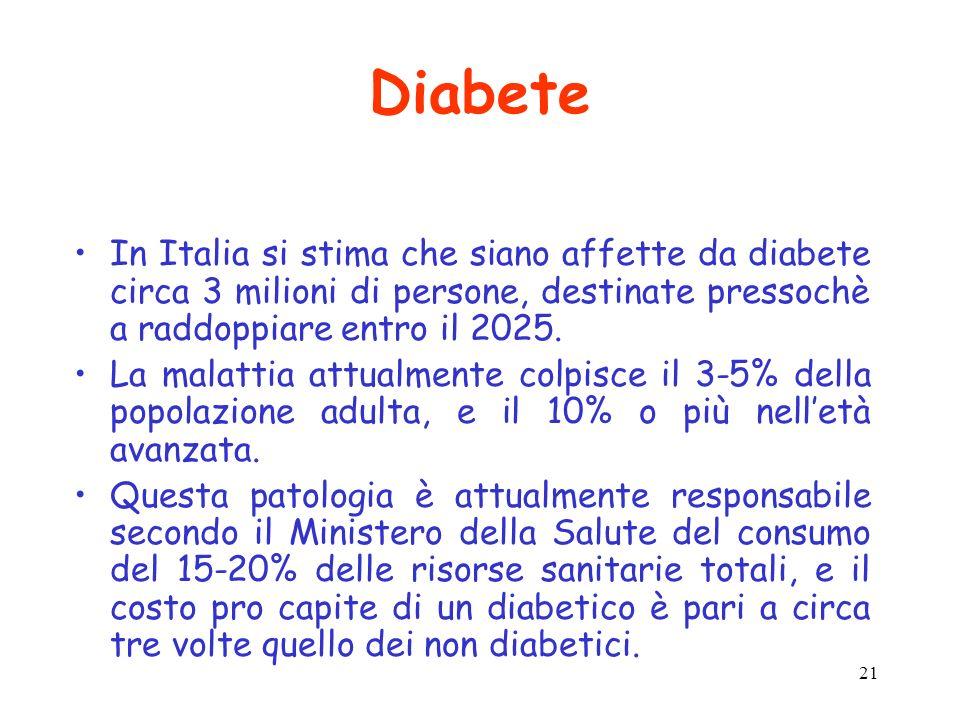 21 Diabete In Italia si stima che siano affette da diabete circa 3 milioni di persone, destinate pressochè a raddoppiare entro il 2025. La malattia at