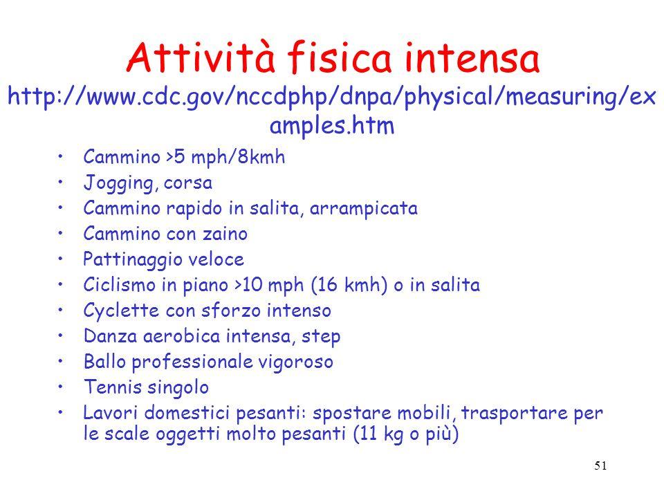 51 Attività fisica intensa http://www.cdc.gov/nccdphp/dnpa/physical/measuring/ex amples.htm Cammino >5 mph/8kmh Jogging, corsa Cammino rapido in salit