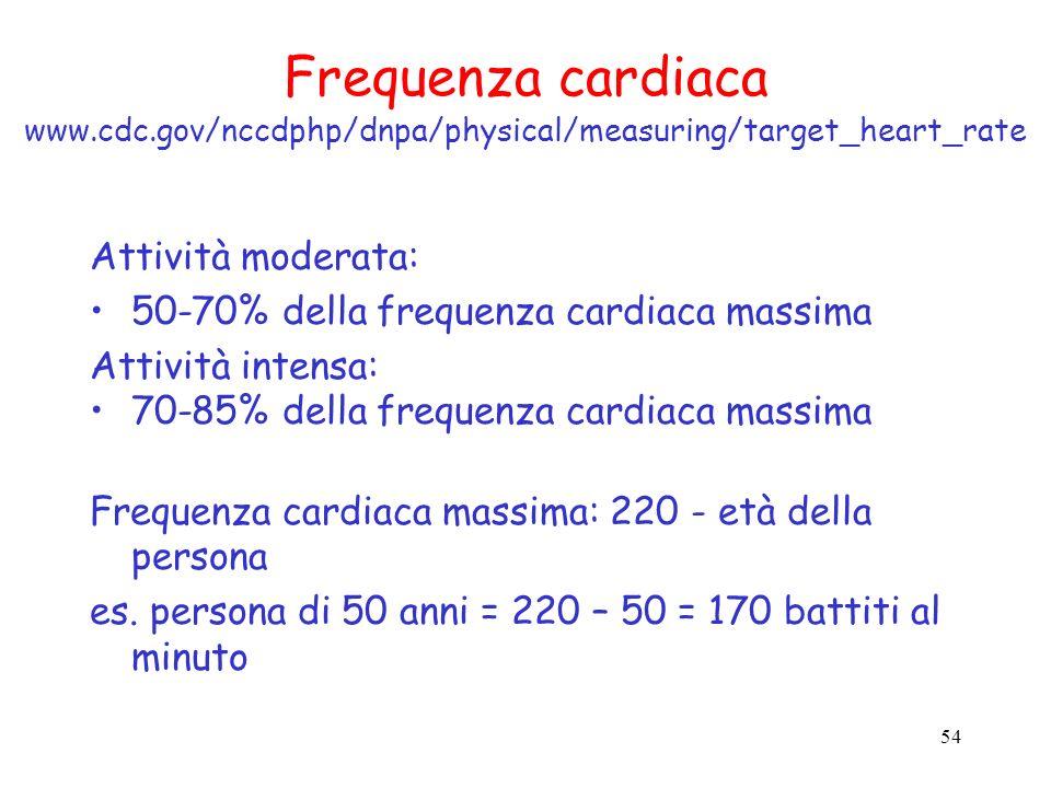 54 Frequenza cardiaca www.cdc.gov/nccdphp/dnpa/physical/measuring/target_heart_rate Attività moderata: 50-70% della frequenza cardiaca massima Attivit
