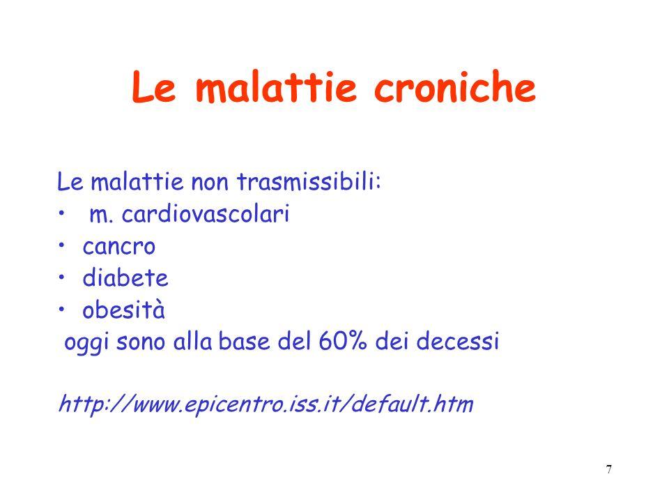 7 Le malattie croniche Le malattie non trasmissibili: m. cardiovascolari cancro diabete obesità oggi sono alla base del 60% dei decessi http://www.epi