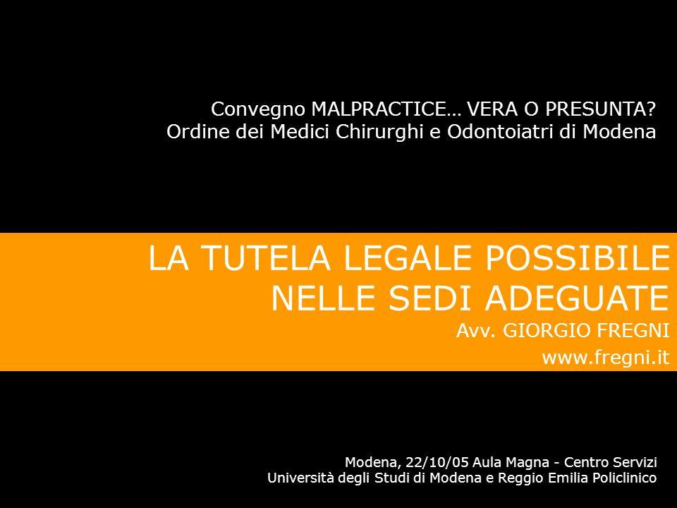 Convegno MALPRACTICE, VERA O PRESUNTA?, Modena 22/10/05 Avv. Giorgio Fregni www.fregni.it CONSIGLIO