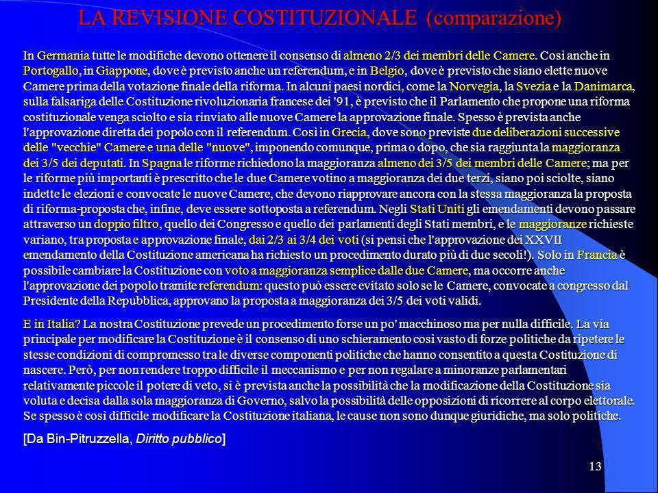12 LEGGI COSTITUZIONALI: LE DUE IPOTESI DELLART. 138 (2) Prima ipotesi Camera I: 1° approvazione maggioranza relativa Camera II: 1° approvazione maggi
