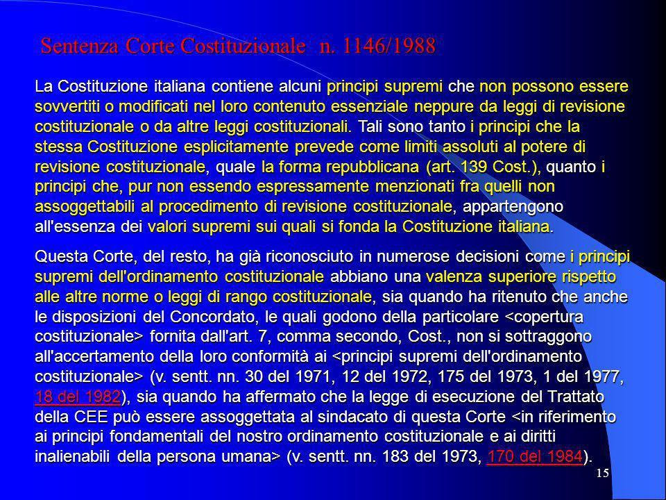 14 I LIMITI ALLA REVISIONE COSTITUZIONALE Lunico limite espresso è la forma repubblicana (art. 139 Cost.) I limiti impliciti sono i principi supremi d