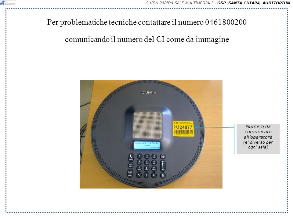 GUIDA RAPIDA SALE MULTIMEDIALI – OSP.