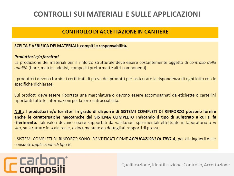 Presentazione111 CONTROLLI SUI MATERIALI E SULLE APPLICAZIONI CONTROLLO DI ACCETTAZIONE IN CANTIERE SCELTA E VERIFICA DEI MATERIALI: compiti e responsabilità.