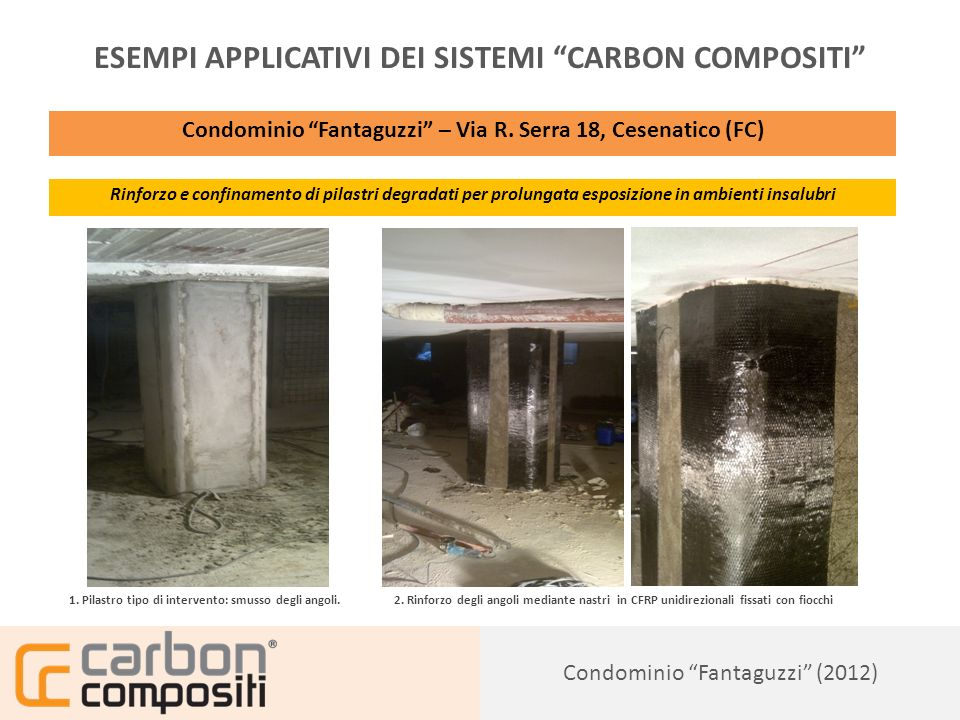 Presentazione150 Condominio Fantaguzzi (2012) ESEMPI APPLICATIVI DEI SISTEMI CARBON COMPOSITI Condominio Fantaguzzi – Via R.