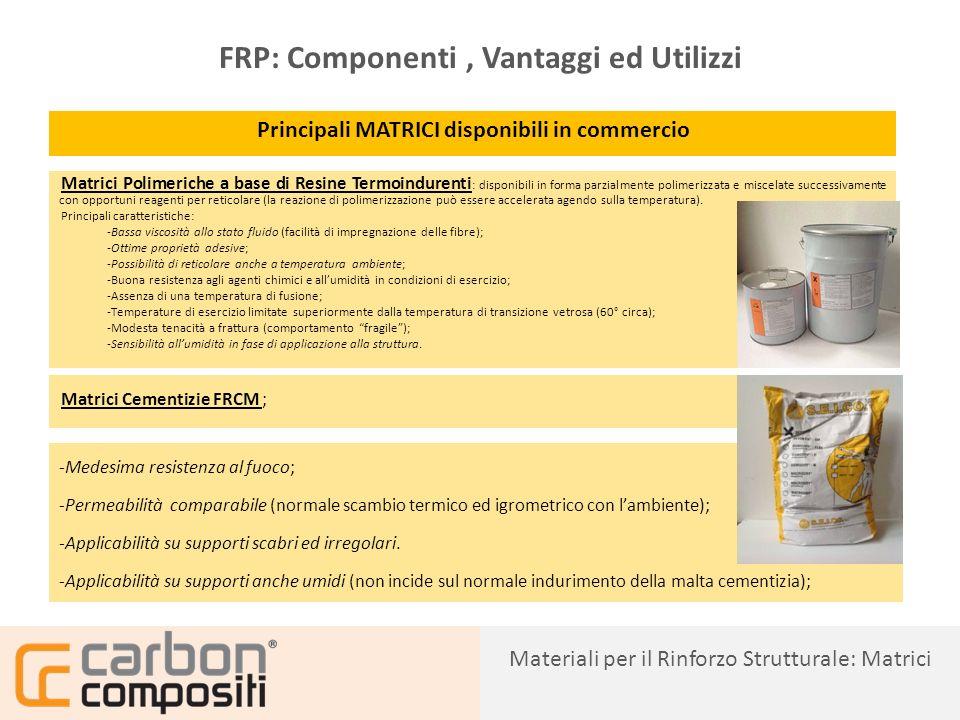 Presentazione16 FRP: Componenti, Vantaggi ed Utilizzi FIBRE IN TESSUTI E RETI DI CARBONIO, BASALTO, VETRO ED ARAMIDE Materiali per il Rinforzo Strutturale