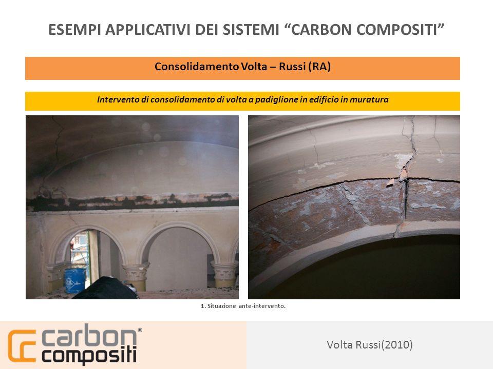 Presentazione163 ESEMPI APPLICATIVI DEI SISTEMI CARBON COMPOSITI Consolidamento Volta – Russi (RA) Intervento di consolidamento di volta a padiglione in edificio in muratura 2.
