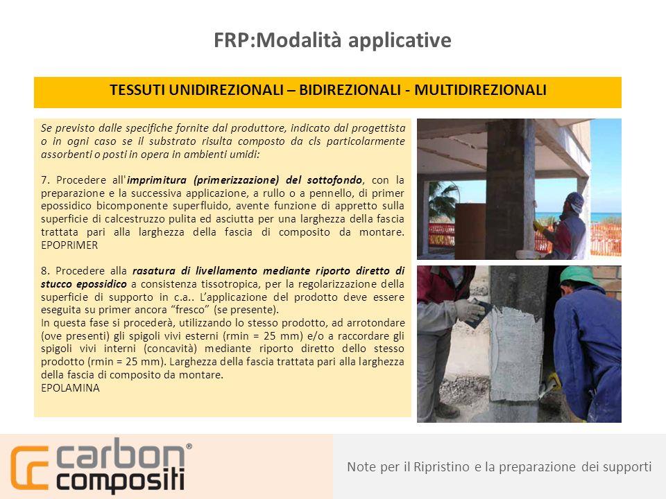 Presentazione22 FRP:Modalità applicative TESSUTI UNIDIREZIONALI – BIDIREZIONALI - MULTIDIREZIONALI 9.