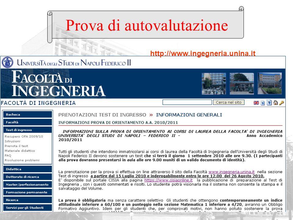 Prova di autovalutazione http://www.ingegneria.unina.it