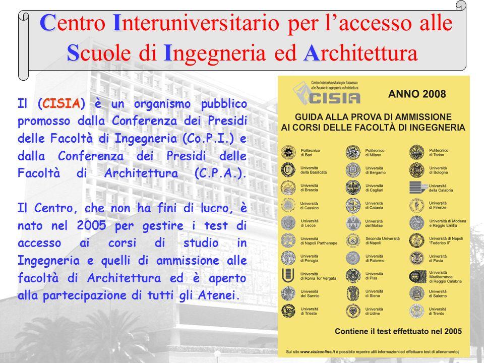 CI SIA Centro Interuniversitario per laccesso alle Scuole di Ingegneria ed Architettura CISIA Il (CISIA) è un organismo pubblico promosso dalla Confer