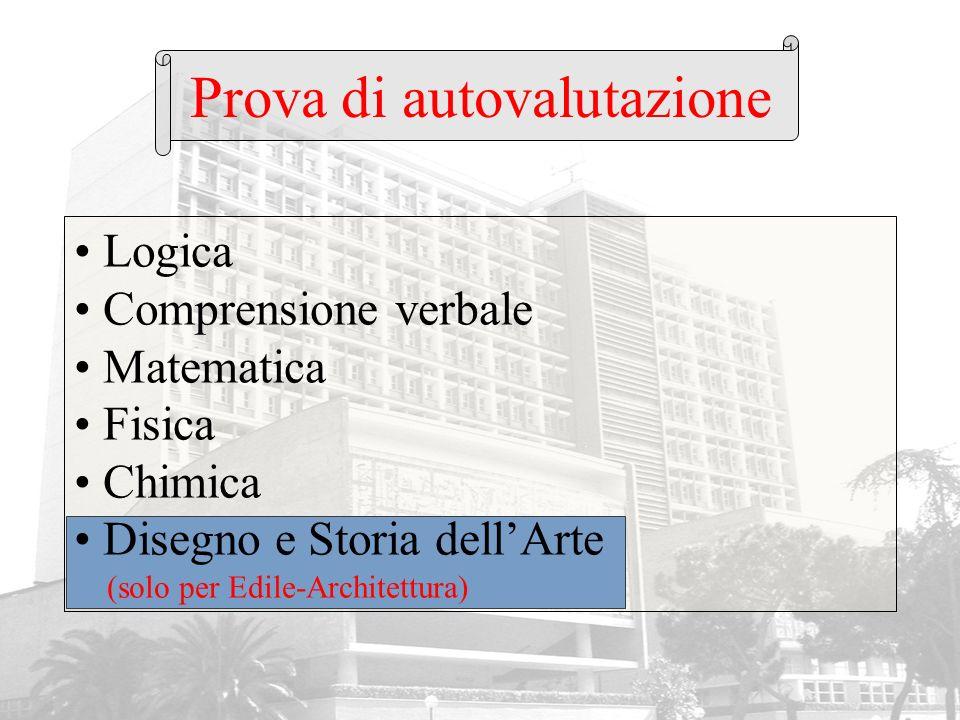 Prova di autovalutazione Logica Comprensione verbale Matematica Fisica Chimica Disegno e Storia dellArte (solo per Edile-Architettura)