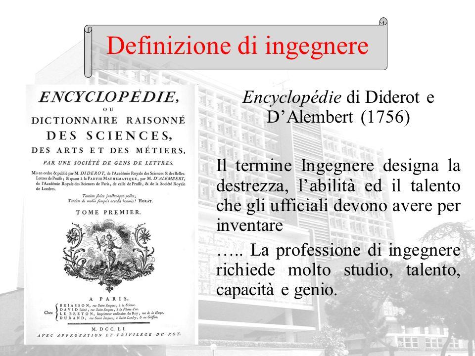 Definizione di ingegnere Encyclopédie di Diderot e DAlembert (1756) Il termine Ingegnere designa la destrezza, labilità ed il talento che gli ufficial
