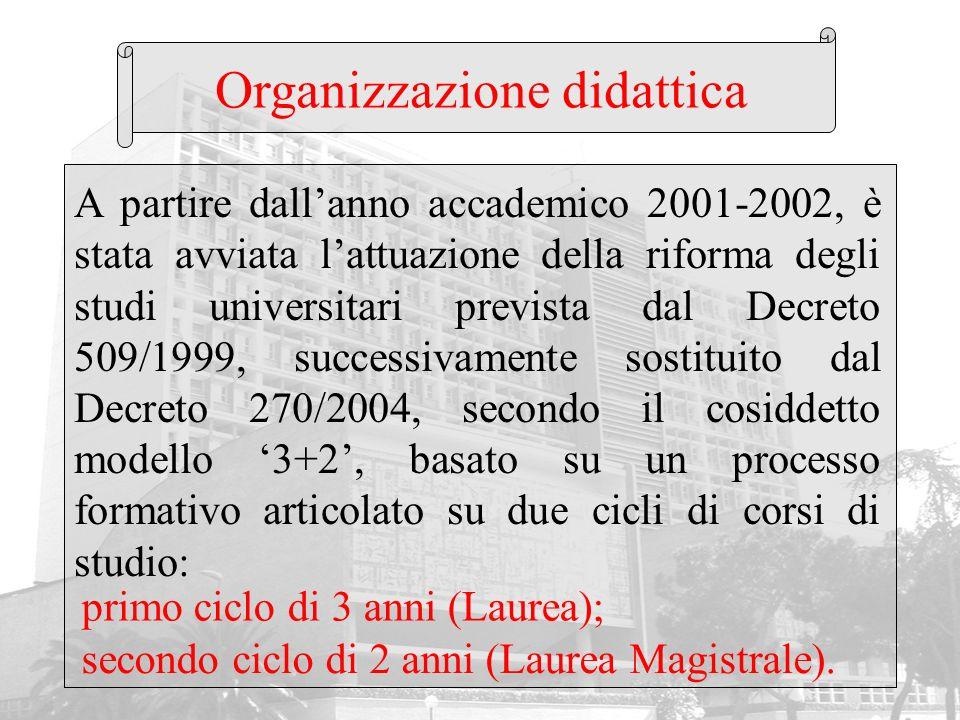Organizzazione didattica A partire dallanno accademico 2001-2002, è stata avviata lattuazione della riforma degli studi universitari prevista dal Decr