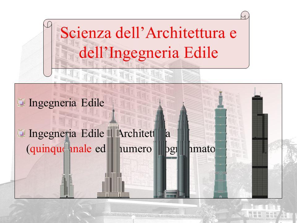 Scienza dellArchitettura e dellIngegneria Edile Ingegneria Edile Ingegneria Edile – Architettura (quinquennale ed a numero programmato)