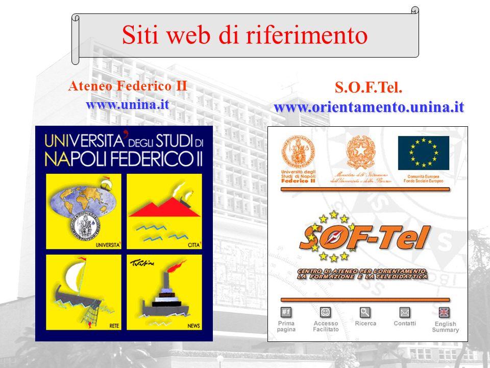 www.unina.it Ateneo Federico II www.unina.it www.orientamento.unina.it S.O.F.Tel. www.orientamento.unina.it Siti web di riferimento