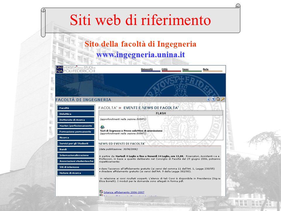 www.ingegneria.unina.it Sito della facoltà di Ingegneria www.ingegneria.unina.it Siti web di riferimento