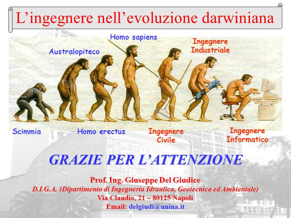 Lingegnere nellevoluzione darwiniana Homo erectus Homo sapiens Australopiteco Scimmia IngegnereCivile IngegnereIndustriale IngegnereInformatico Prof.