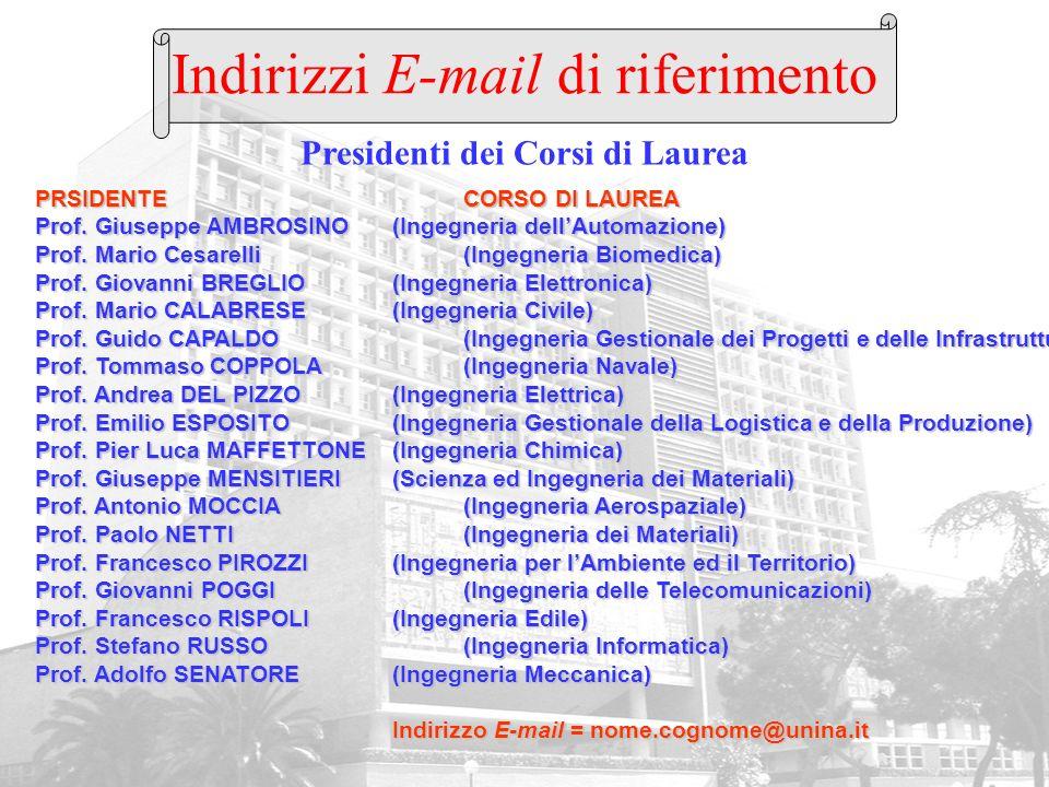Indirizzi E-mail di riferimento PRSIDENTECORSO DI LAUREA Prof. Giuseppe AMBROSINO(Ingegneria dellAutomazione) Prof. Mario Cesarelli(Ingegneria Biomedi