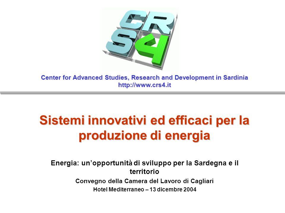 CRS4 – http://www.crs4.it Energia: unopportunità di sviluppo per la Sardegna e il territorioCagliari, 13 dicembre 2004 CRS4: una breve descrizione Il CRS4 in cifre Centro di ricerca interdisciplinare specializzato nelle scienze computazionali Consorzio no-profit RAS(C21), IBM, STM, UniCA, UniSS, Saras, Tiscali Attivo dal 1992 Staff tecnico di ~80 persone Turnover di ~7M Euro, di cui il ~50% da finanziamenti esterni Progetti di ricerca EU/Nazionali Contratti industriali