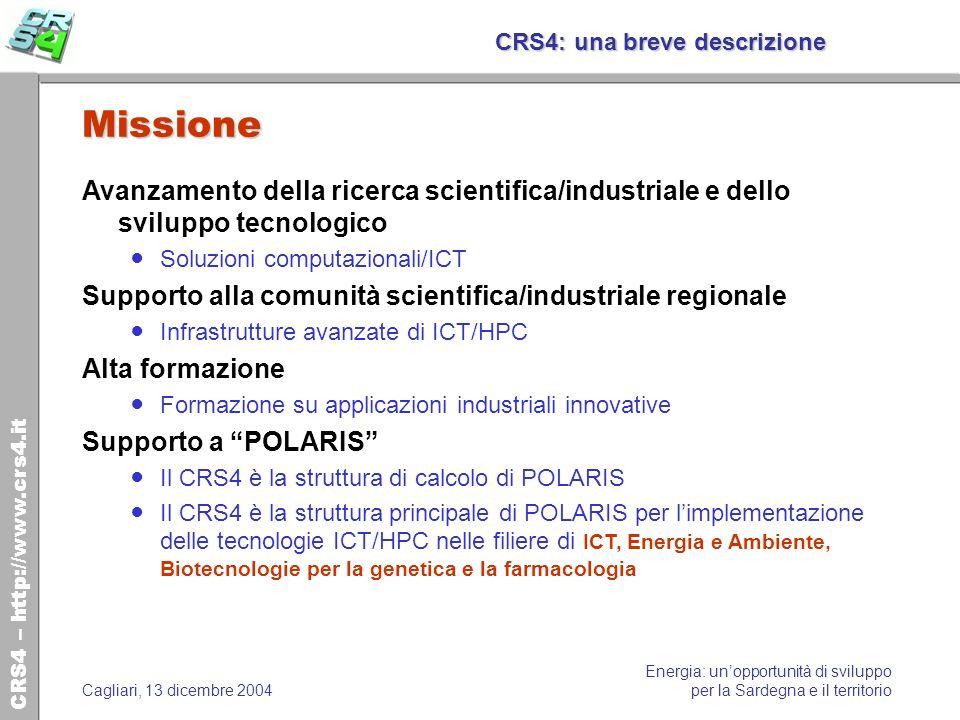 CRS4 – http://www.crs4.it Energia: unopportunità di sviluppo per la Sardegna e il territorioCagliari, 13 dicembre 2004 CRS4: una breve descrizione Mis