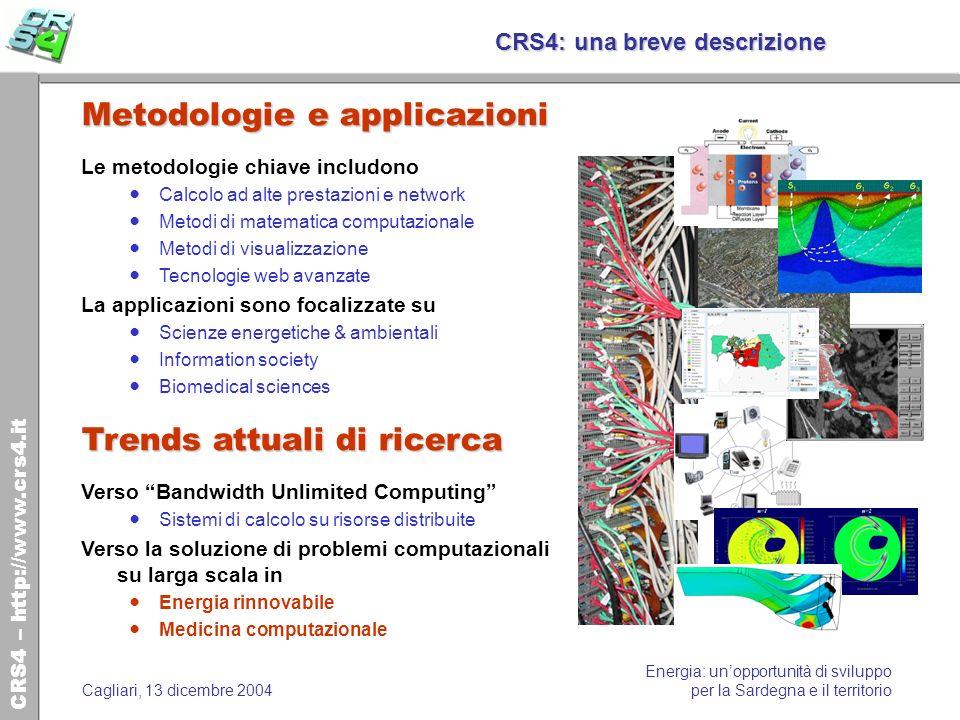 CRS4 – http://www.crs4.it Energia: unopportunità di sviluppo per la Sardegna e il territorioCagliari, 13 dicembre 2004 CRS4: una breve descrizione Met