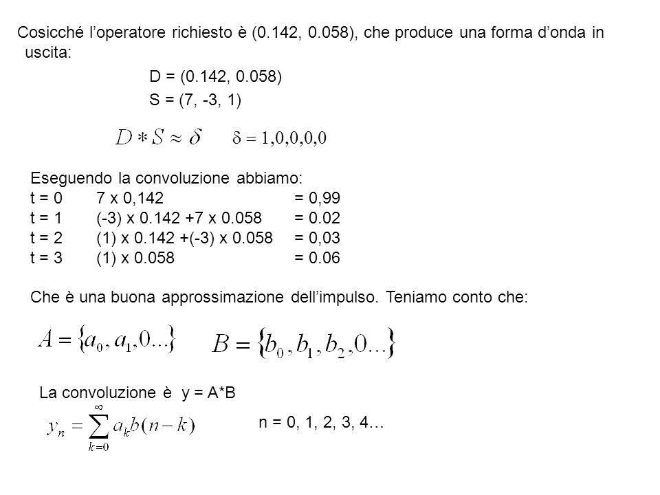 Cosicché loperatore richiesto è (0.142, 0.058), che produce una forma donda in uscita: D = (0.142, 0.058) S = (7, -3, 1) Eseguendo la convoluzione abb
