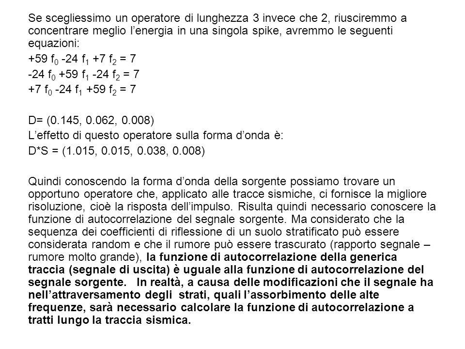 Se scegliessimo un operatore di lunghezza 3 invece che 2, riusciremmo a concentrare meglio lenergia in una singola spike, avremmo le seguenti equazion