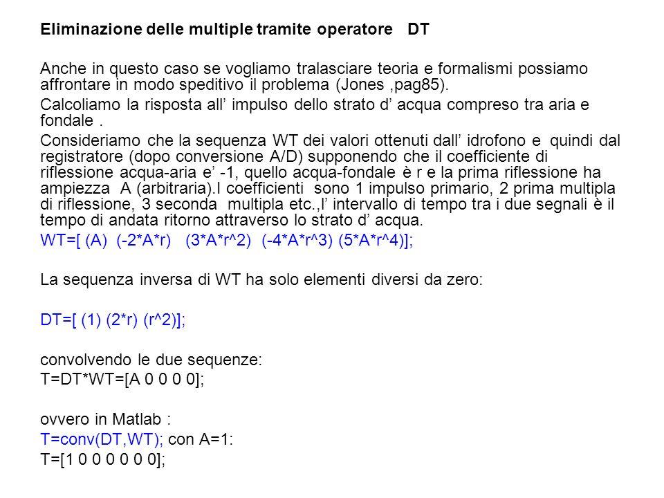Eliminazione delle multiple tramite operatore DT Anche in questo caso se vogliamo tralasciare teoria e formalismi possiamo affrontare in modo speditiv
