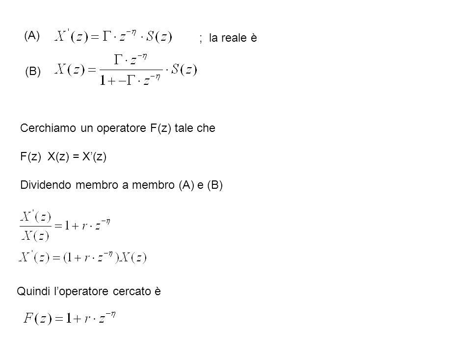 (A) ; la reale è Cerchiamo un operatore F(z) tale che F(z) X(z) = X(z) Dividendo membro a membro (A) e (B) (B) Quindi loperatore cercato è
