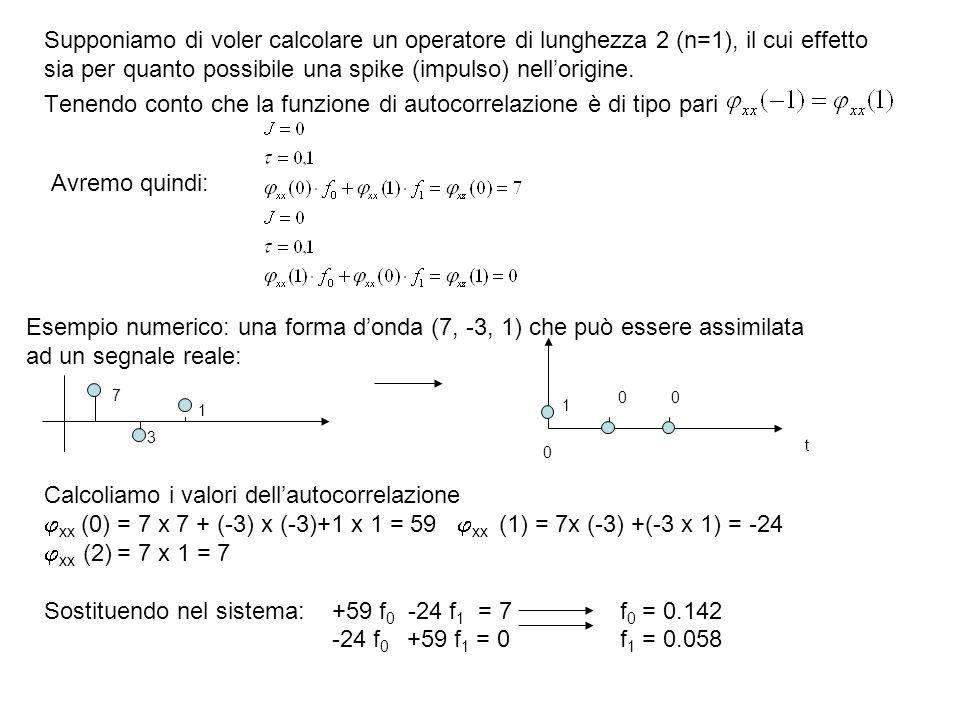 Cosicché loperatore richiesto è (0.142, 0.058), che produce una forma donda in uscita: D = (0.142, 0.058) S = (7, -3, 1) Eseguendo la convoluzione abbiamo: t = 07 x 0,142= 0,99 t = 1(-3) x 0.142 +7 x 0.058= 0.02 t = 2(1) x 0.142 +(-3) x 0.058= 0,03 t = 3(1) x 0.058= 0.06 Che è una buona approssimazione dellimpulso.