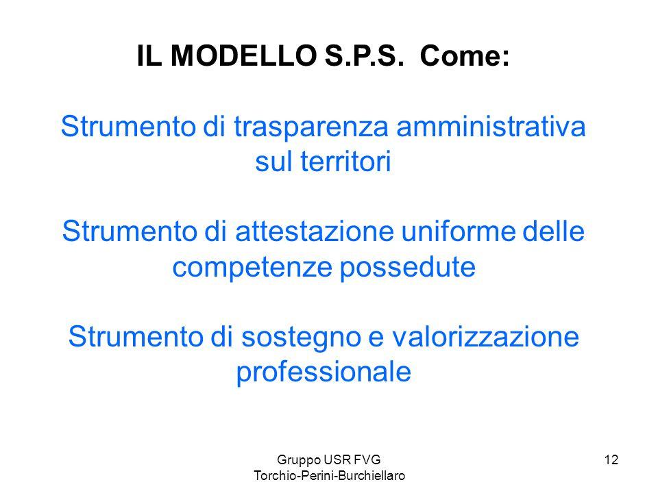 Gruppo USR FVG Torchio-Perini-Burchiellaro 12 IL MODELLO S.P.S. Come: Strumento di trasparenza amministrativa sul territori Strumento di attestazione